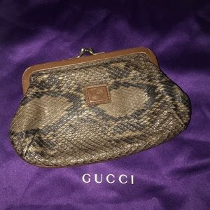 Authentic Gucci exotic snakeskin kisslock clutch